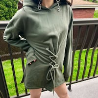 GARAGE dark green hoodie / dress size small Montreal