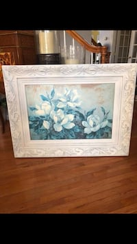 "44""X32"" A gorgeous Large signed flower painting in A Antique white distressed finish wooden frame Gainesville, 20155"