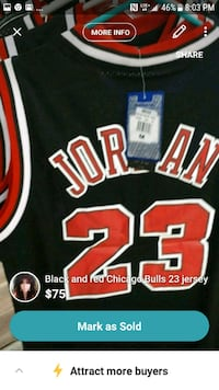 black and red Chicago Bulls 23 jersey shirt Montreal, H3N 2R6