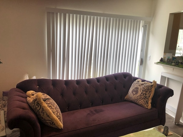 Groovy Custom Purple Couch Loveseat And Recliner With Rhinestone Studs Bralicious Painted Fabric Chair Ideas Braliciousco