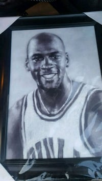 Micheal Jordan black framed drawing poster Edmonton, T6L 5T2