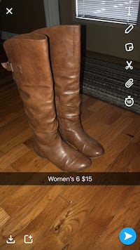 pair of brown leather knee-high boots Hinkle, 40953