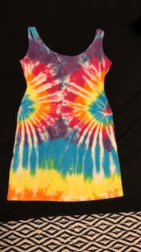 multicolored tie-dyed dress.  Gulf Shores, 36542