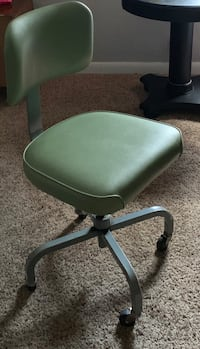 New Price! Vintage Green Vinyl Rolling Office Chair
