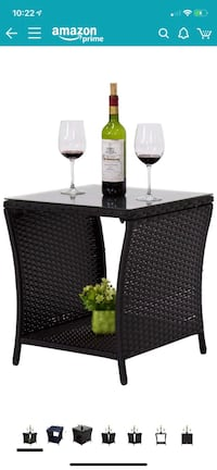Outdoor side table: Black wicker, glass top