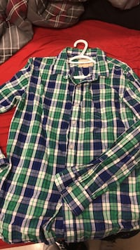 green, white, and blue plaid shirt — size L