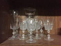 clear glass decanter with four wine glasses MANASSAS