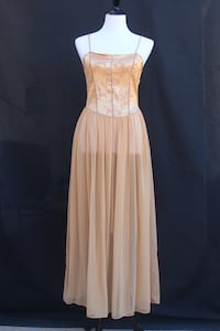 1990s Princess Gold Victoria's Secret Gown/Slip/Dress w/ Sheer Skirt and Lace-up Back Castaic, 91384