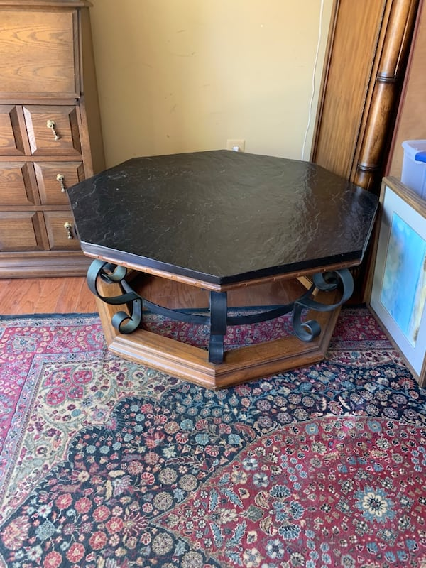 Slate and wrought iron  coffee table good condition 5ded343e-dcfb-4159-bf57-688fb0a5cc98