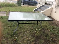 Rectangular black metal framed glass top patio table Lowell, 01854