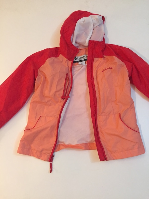 Red and light coral Columbia wind breaker 1