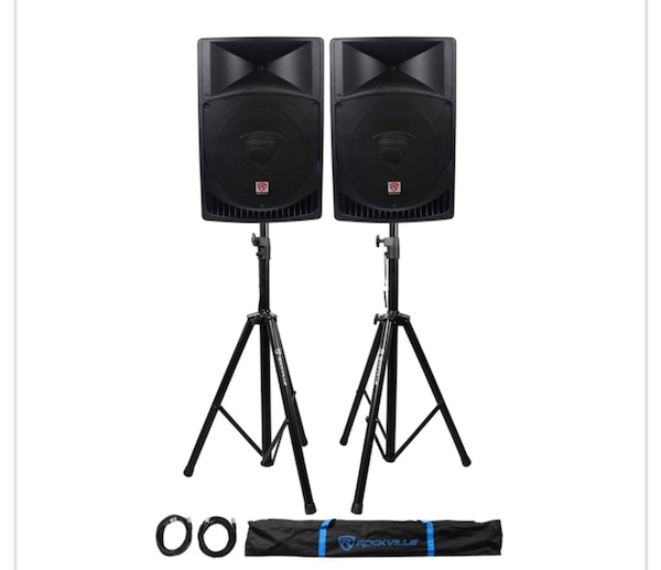 "Pair Rockville RPG15 15"" 2000w Powered PA/DJ Speakers + 2 Stands + 2 Cables+Bag"