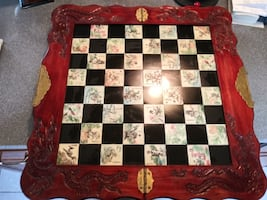 Vintage Wood Carved Oriental Chess Board 32 Chess Pieces