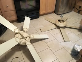 "52"" ceiling fans cream color with LED back lights"