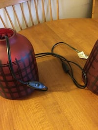 red and black ceramic corded table lamp