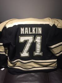 White and black Malkin 71 jersey
