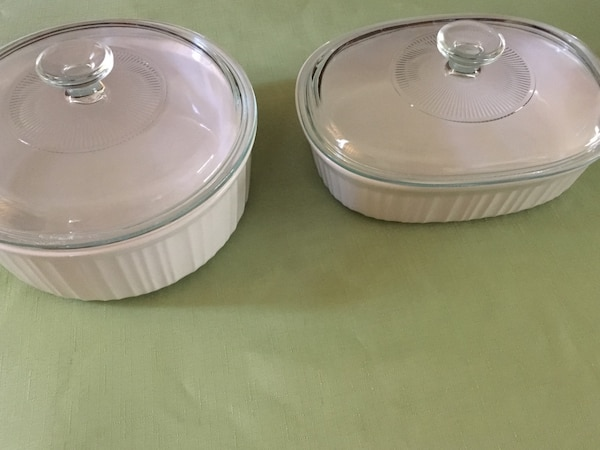 2 French white Corelle  dishes excellent condition $10 for both Hamilton west mtn