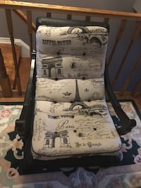 4 chairs for $65 - 2 beige dining chairs, Paris print chair and leg rest