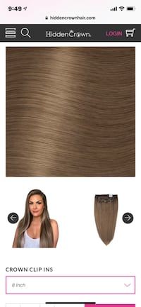 8inch crown clip ins never used still in packaging- paid $100