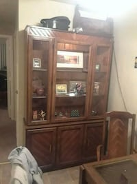 brown wooden framed glass display cabinet Riverview, 48193