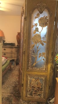 Gold painted wood and etched glass Heavy Screen partion Aventura, 33180