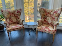brown wooden frame white padded armchair Centreville, 20120