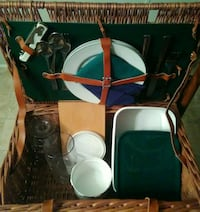 Price Drop. Wicker Picnic Basket Set For Two.