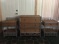 Wicker/Rattan style Dresser and Night Stands