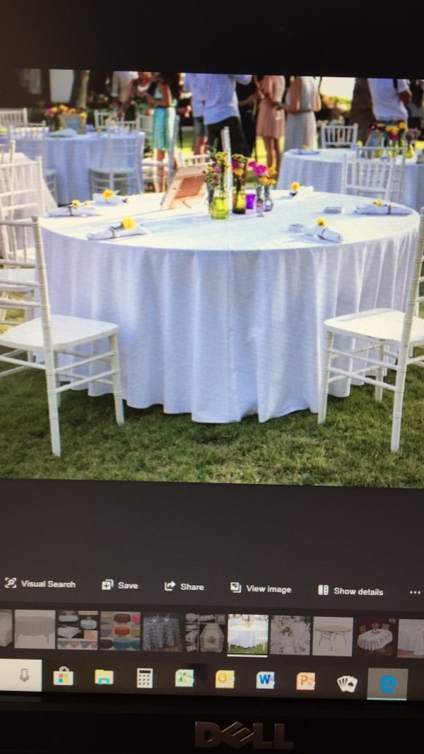 14 linen tablecloths freshly washed and pressed. Perfect for weddings/receptions and garden parties. $125 or best offer.