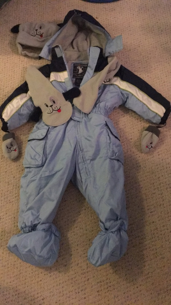 Winter jacket body suit with scarf, hat, gloves and shoes over, like new, size 18m