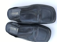 Black Geox leather slip on clog shoes