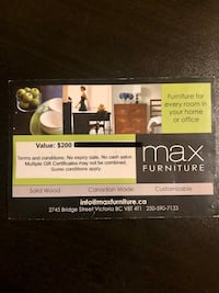 Max Furniture Gift Card $200 Value