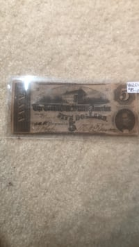 old 5 doler bill Bristow, 20136