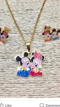 gold-colored necklace with Minnie and Mickey Mouse pendants