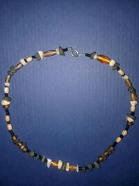 brown and white beaded necklace