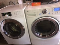 All white 2yr old LG washer & 1 yr old gas dryer frontloaders also stackable  dryer has a LCD monitor w/steam  great condition washer is a4.o cf capacity and dryer is a7.1 cf capacity all stainless steel drums comes with all the hook ups could deliver for San Fernando, 91340