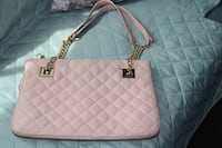 quilted pink leather tote bag