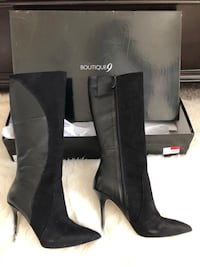 Black size 7.5 leather mid calf Boutique9 boots  Nashville