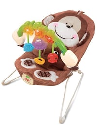 baby's brown and white Fisher-Price bouncer 27 km