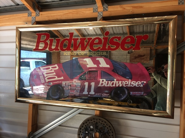 Budweiser Framed Race Car Mirror