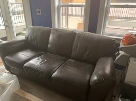 Leather Sofa - Perfect condition, just dusty from construction.