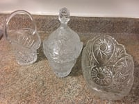 two clear cut glass vases Toronto, M1P 0A2