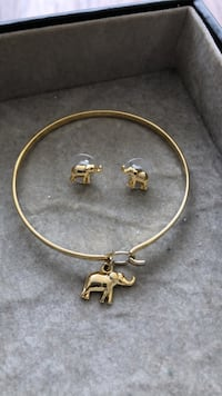 Matching elephant bangle and earrings in 18K coating Toronto, M4W 1L1