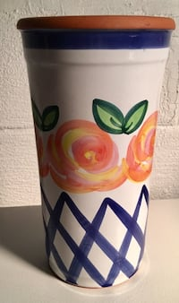 Like New! Tall Clay Pot with Rose Design
