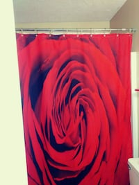 Rose Print shower curtain with matching rugs La Vergne