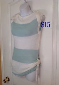 White & Blue Knit Sleeveless Top: Size Small
