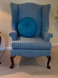 Two turquoise traditional arm chairs Hampton