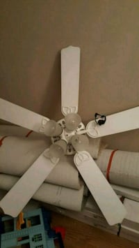 white 5-bladed ceiling fan with light