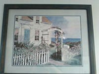 seaside cottage painting with blue  frame Dundalk