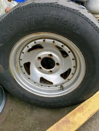 (5) old school saw blade rims for trailer